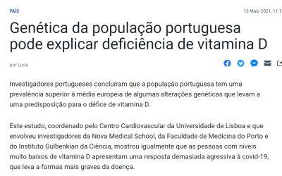 """""""Genética da população portuguesa pode explicar deficiência de vitamina D"""", por Lusa"""